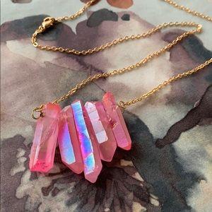 Pink angel aura crystal necklace